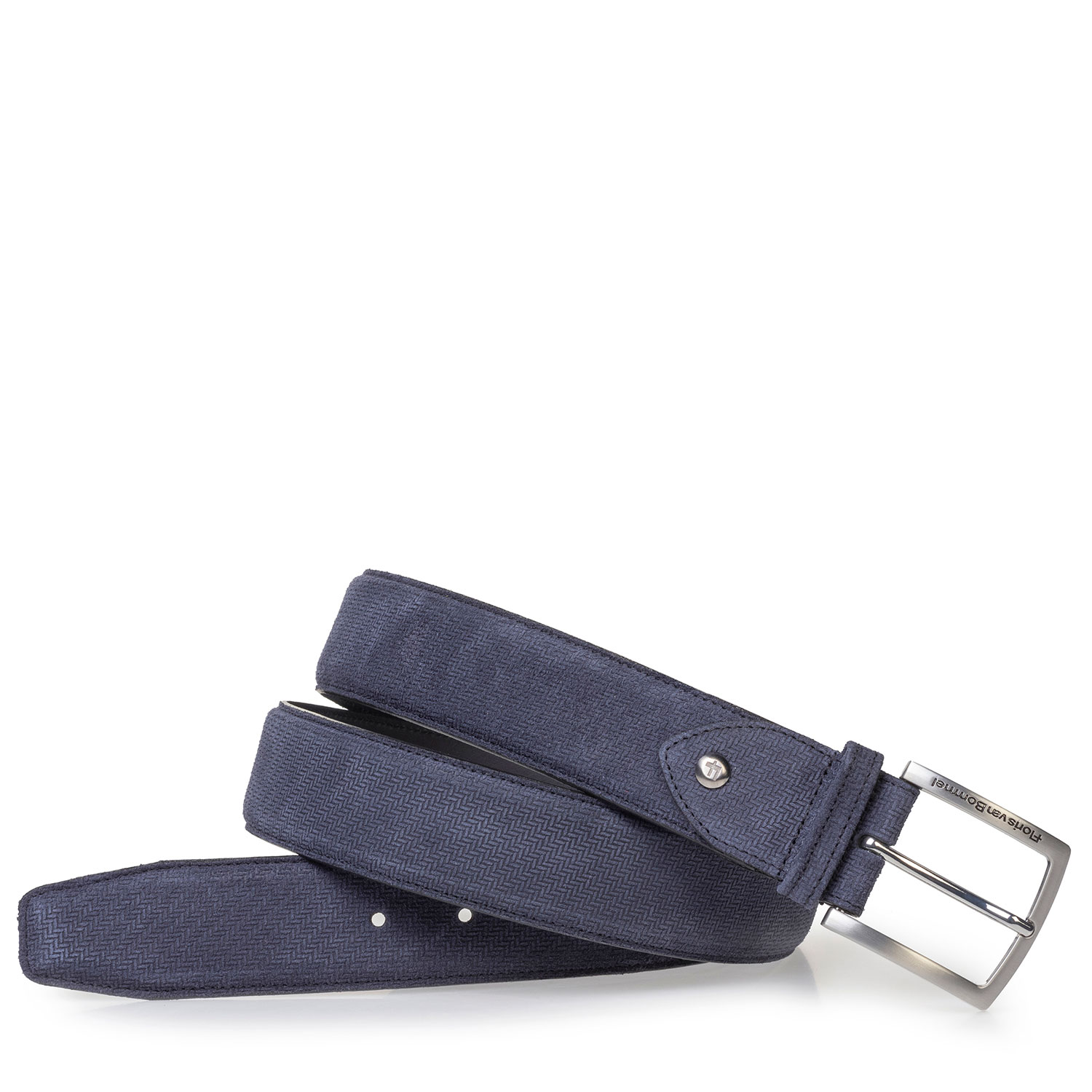 75202/49 - Blue suede leather belt with print