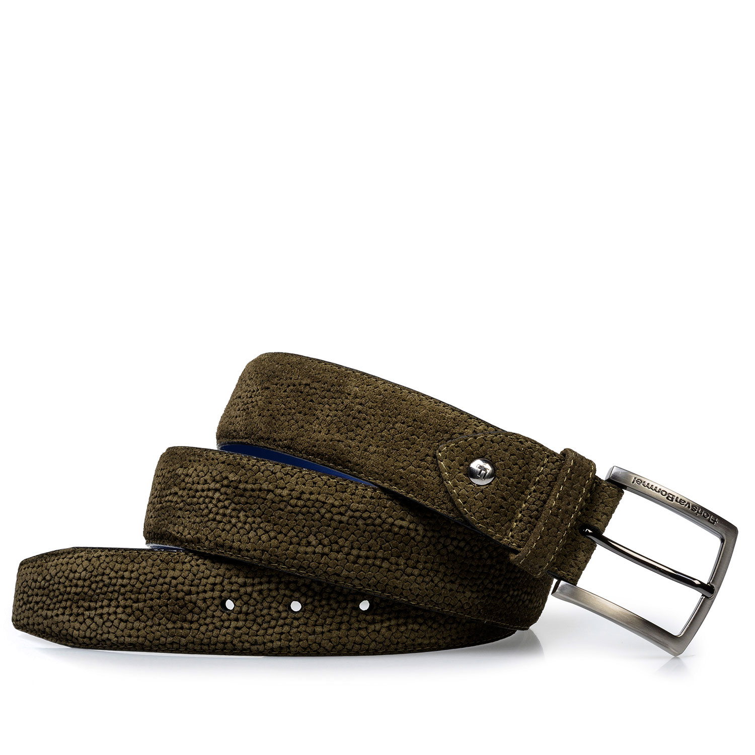 75202/21 - Olive green suede leather belt with print